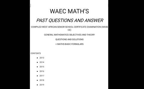 Solve waec maths past questions q
