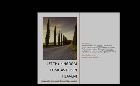 LET THY KINGDOM COME AS IT IS IN HEAVEN