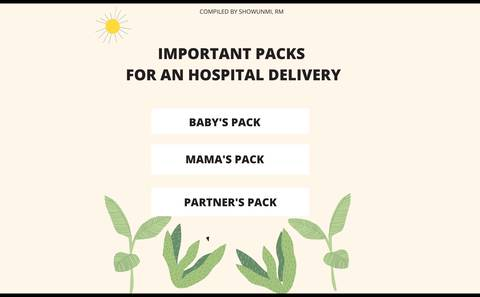 IMPORTANT PACKS FOR HOSPITAL DELIVERY